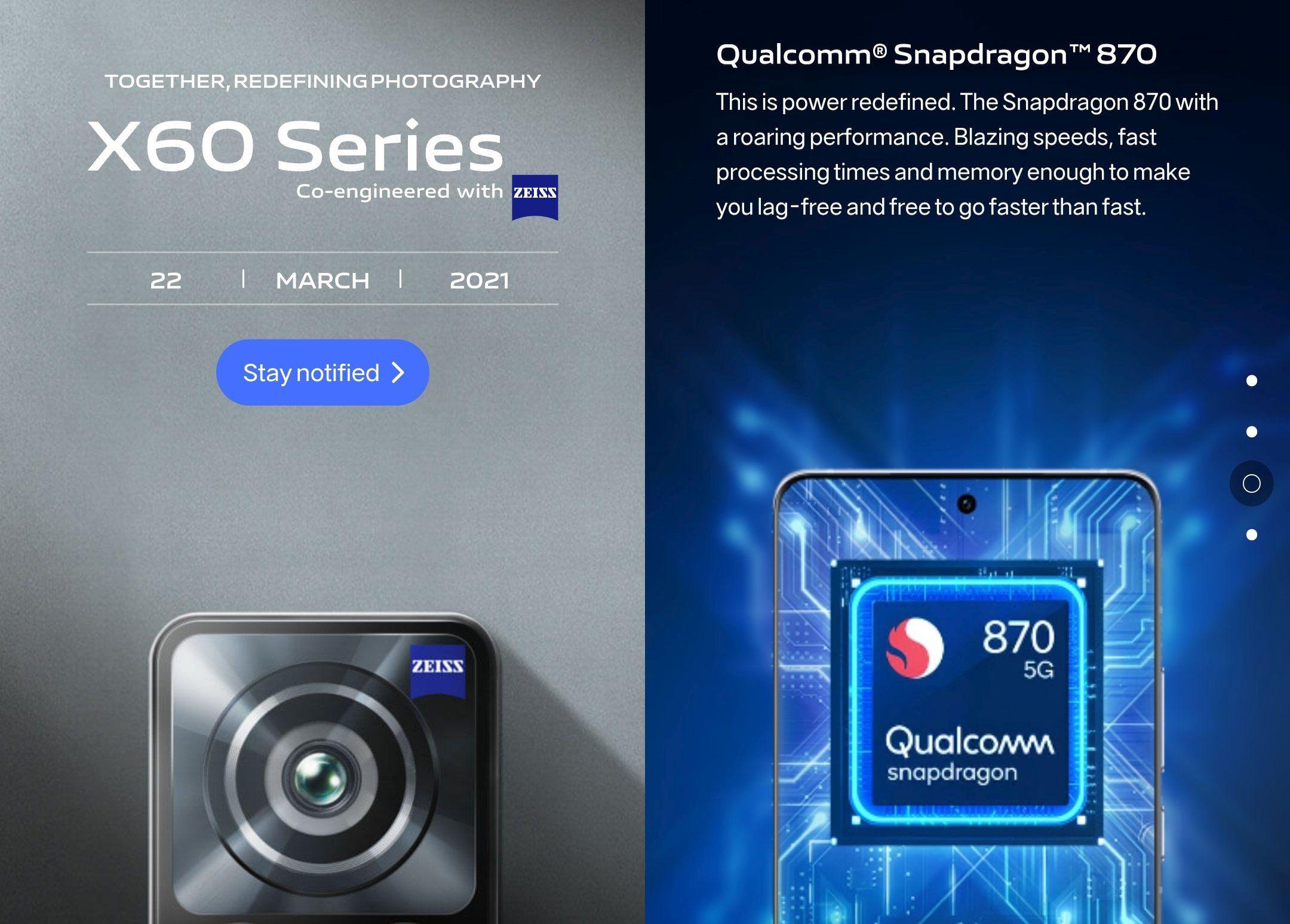 글로벌 시장에 Vivo X60 시리즈 출시일