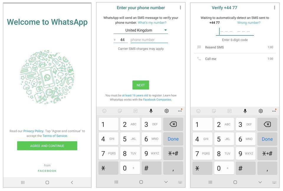 WhatsApp 2FA 전화 번호 확인 프로세스