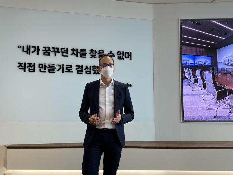 Porsche Korea CEO Holger Gerrmann speaks during a media conference at the new company office in Gangnam, Seoul on Thursday. (Jo He-rim/The Korea Herald)