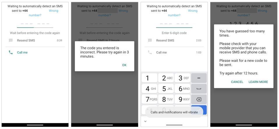 WhatsApp 전화 번호 확인이 잘못된 코드로 실패했습니다.