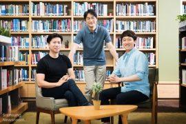 From left, SAIT Organic Material Lab principal researcher Chung Jong-won, principal researcher Yun Young-jun and staff researcher Lee Yeong-jun (Samsung Electronics)