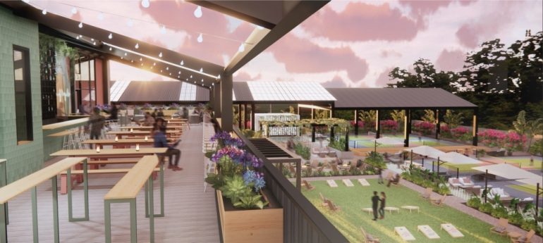 The 4.6-acre pickleball-themed complex will have 12 pickleball courts and a two-story restaurant with a large patio and rooftop bar. (Courtesy Electric Pickle)