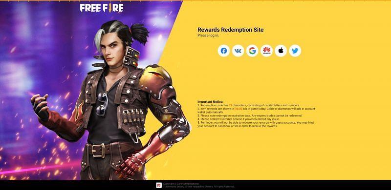 게스트 사용자는 Free Fire 보상 교환 사이트에서 교환 코드를 사용할 수 없습니다.