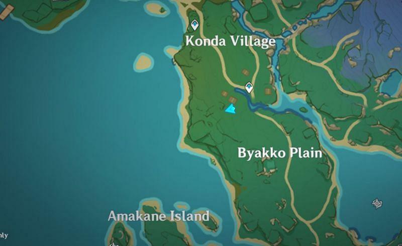 지도에서 우물의 위치(이미지 제공: Genshin Impact)
