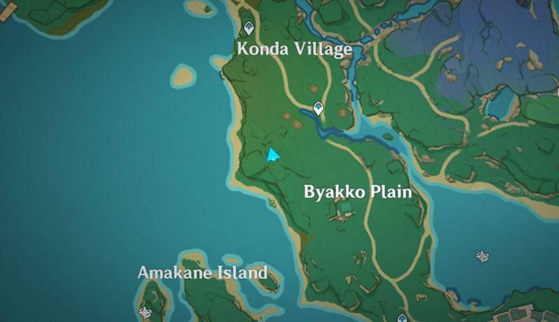 지도에서 녹슨 열쇠의 위치(이미지 제공: Genshin Impact)
