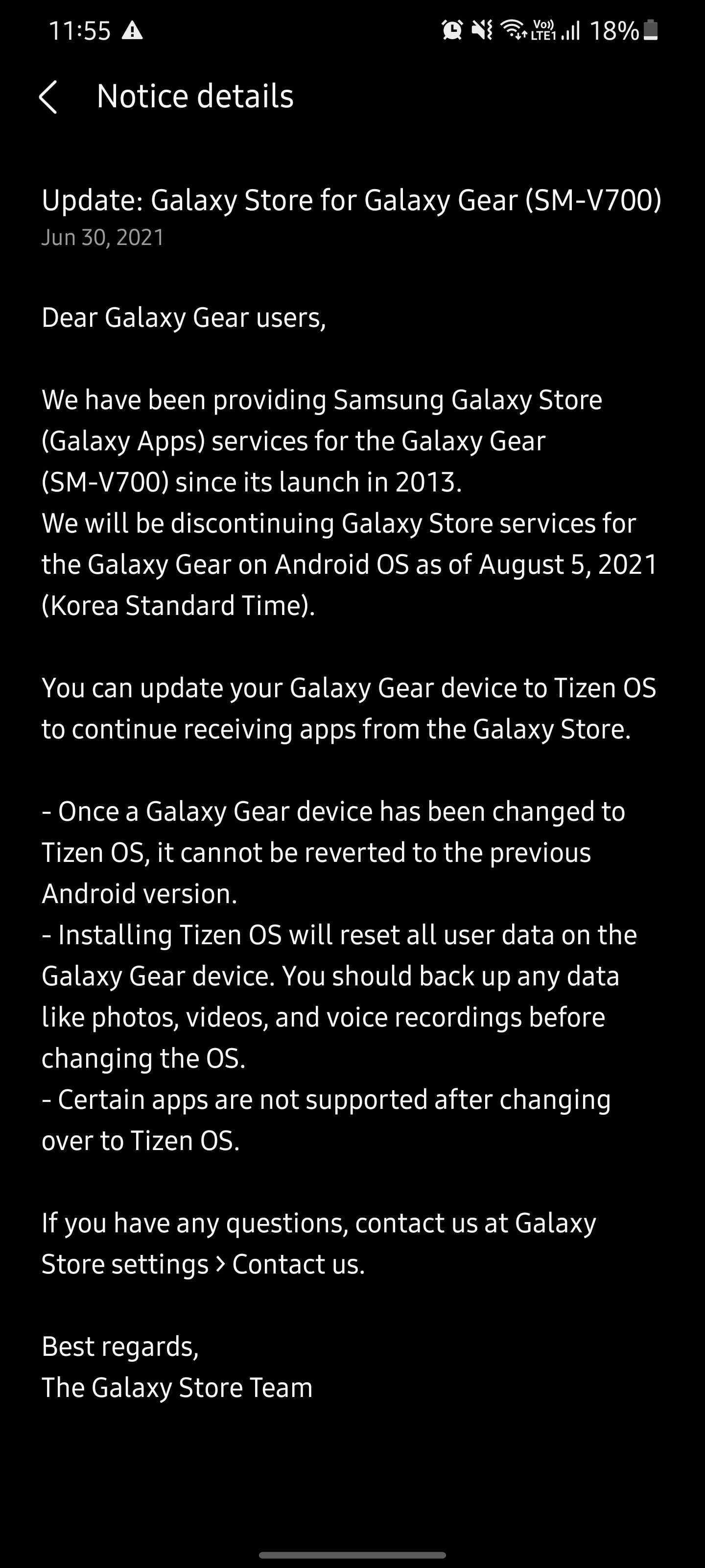 Samsung Galaxy Gear 앱 지원