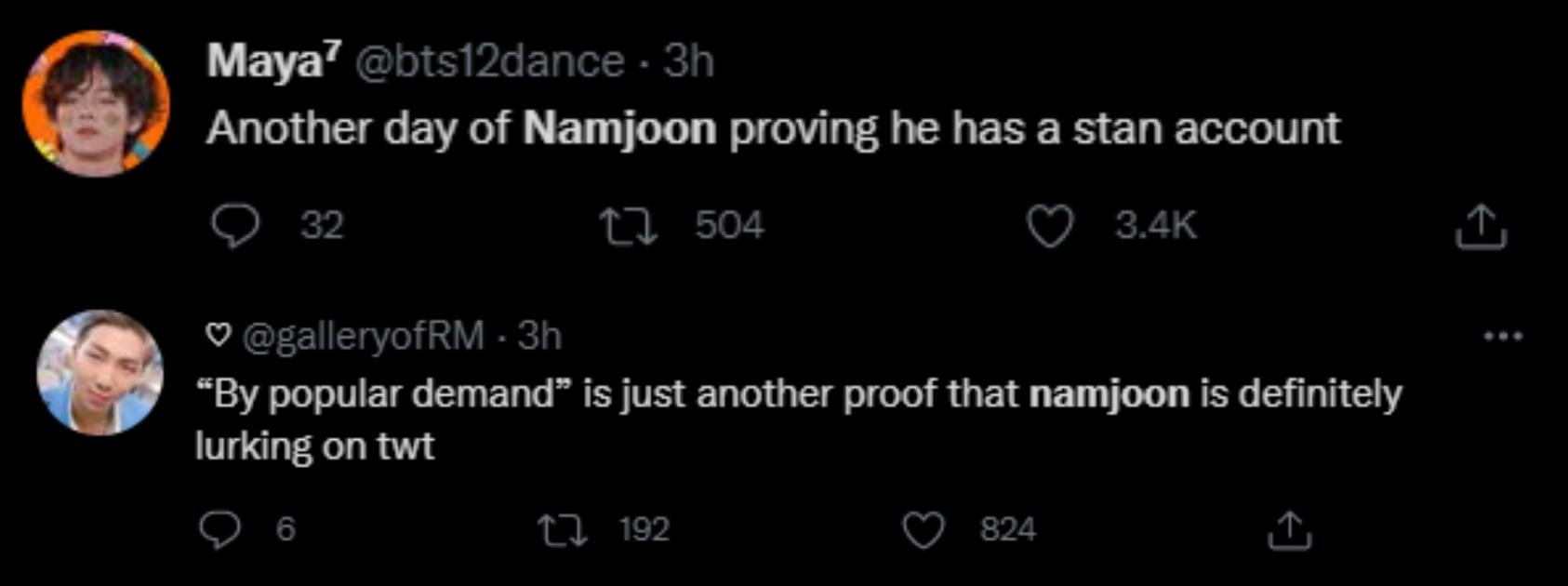 BTS 팬들은 RM이 비밀 계정을 가지고 있다고 생각합니다.