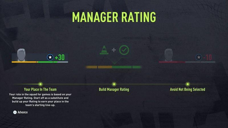 Player Career에서 사용 가능한 관리자 등급(Electronic Arts를 통한 이미지)