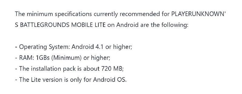 다음은 PUBG Mobile Lite의 최소 요구 사항입니다(Tencent를 통한 이미지).